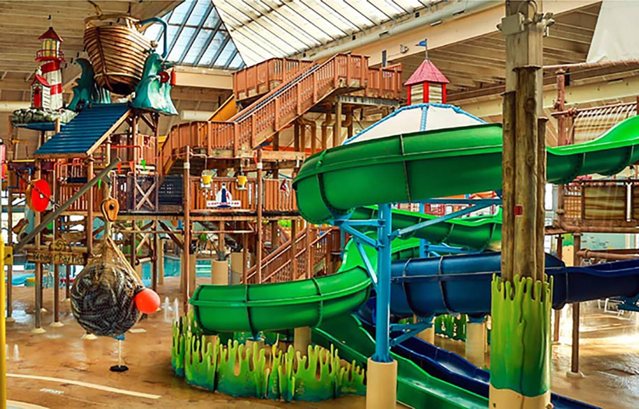 slides and other features inside waterpark